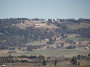 The view from the bottom of Mt Panorama, near the hotel. Dan thought the track went around the hill, not up it. Idiot.