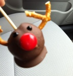 There is absolutely no point to this picture of a reindeer cakepop that my dentist gave me after a pre-christmas visit.